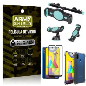 Kit Suporte Veicular 3 em 1 Galaxy M31 + Película 3D + Capa Anti Impacto - Armyshield