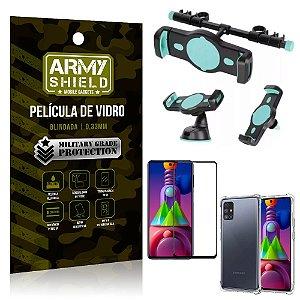 Kit Suporte Veicular 3 em 1 Galaxy M51 + Película 3D + Capa Anti Impacto - Armyshield