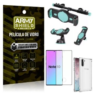 Kit Suporte Veicular 3 em 1 Galaxy Note 10 + Película 3D + Capa Anti Impacto - Armyshield