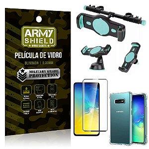 Kit Suporte Veicular 3 em 1 Galaxy S10e + Película 3D + Capa Anti Impacto - Armyshield