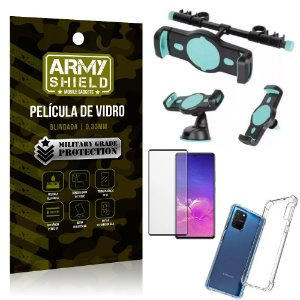 Kit Suporte Veicular 3 em 1 Galaxy S10 Lite + Película 3D + Capa Anti Impacto - Armyshield