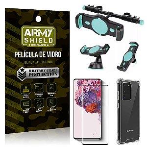 Kit Suporte Veicular 3 em 1 Galaxy S20 Ultra + Película 3D + Capa Anti Impacto - Armyshield
