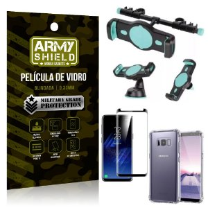 Kit Suporte Veicular 3 em 1 Galaxy S8 + Película 3D + Capa Anti Impacto - Armyshield