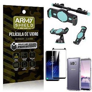 Kit Suporte Veicular 3 em 1 Galaxy S8 Plus + Película 3D + Capa Anti Impacto - Armyshield
