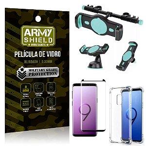 Kit Suporte Veicular 3 em 1 Galaxy S9 + Película 3D + Capa Anti Impacto - Armyshield