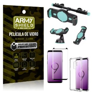 Kit Suporte Veicular 3 em 1 Galaxy S9 Plus + Película 3D + Capa Anti Impacto - Armyshield