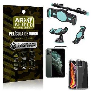 Kit Suporte Veicular 3 em 1 iPhone 11 Pro Max 6.5 + Película 3D + Capa Anti Impacto - Armyshield