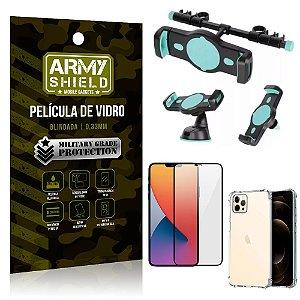 Kit Suporte Veicular 3 em 1 iPhone 12 Pro 6.1 + Película 3D + Capa Anti Impacto - Armyshield