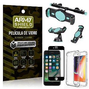 Kit Suporte Veicular 3 em 1 iPhone 7 + Película 3D + Capa Anti Impacto - Armyshield