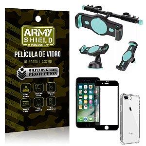 Kit Suporte Veicular 3 em 1 iPhone 8 Plus + Película 3D + Capa Anti Impacto - Armyshield