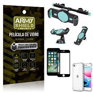 Kit Suporte Veicular 3 em 1 iPhone SE 2020 + Película 3D + Capa Anti Impacto - Armyshield