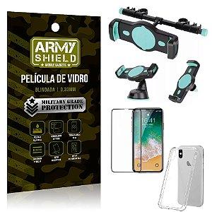 Kit Suporte Veicular 3 em 1 iPhone X + Película 3D + Capa Anti Impacto - Armyshield