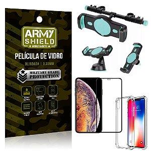 Kit Suporte Veicular 3 em 1 iPhone XS Max 6.5 + Película 3D + Capa Anti Impacto - Armyshield