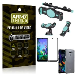 Kit Suporte Veicular 3 em 1 LG K12 Max + Película 3D + Capa Anti Impacto - Armyshield
