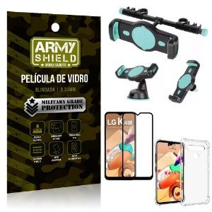 Kit Suporte Veicular 3 em 1 LG K41s + Película 3D + Capa Anti Impacto - Armyshield
