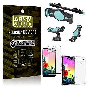 Kit Suporte Veicular 3 em 1 LG K50s + Película 3D + Capa Anti Impacto - Armyshield