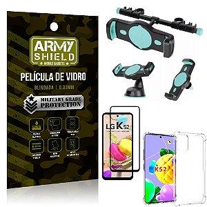 Kit Suporte Veicular 3 em 1 LG K52 + Película 3D + Capa Anti Impacto - Armyshield
