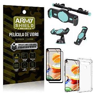Kit Suporte Veicular 3 em 1 LG K61 + Película 3D + Capa Anti Impacto - Armyshield
