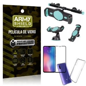 Kit Suporte Veicular 3 em 1 Mi 9 SE + Película 3D + Capa Anti Impacto - Armyshield