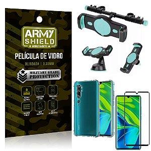 Kit Suporte Veicular 3 em 1 Mi Note 10 - Note 10 Pro + Película 3D + Capa Anti Impacto - Armyshield