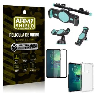 Kit Suporte Veicular 3 em 1 Moto G8 Play + Película 3D + Capa Anti Impacto - Armyshield