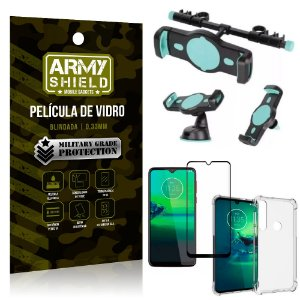 Kit Suporte Veicular 3 em 1 Moto G8 Plus + Película 3D + Capa Anti Impacto - Armyshield