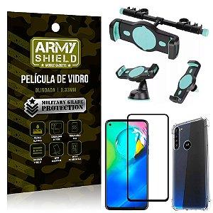 Kit Suporte Veicular 3 em 1 Moto G8 Power + Película 3D + Capa Anti Impacto - Armyshield
