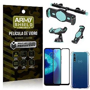 Kit Suporte Veicular 3 em 1 Moto G8 Power Lite + Película 3D + Capa Anti Impacto - Armyshield