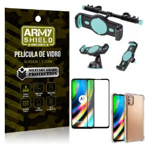 Kit Suporte Veicular 3 em 1 Moto G9 Plus + Película 3D + Capa Anti Impacto - Armyshield
