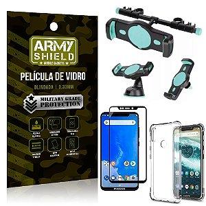 Kit Suporte Veicular 3 em 1 Moto One + Película 3D + Capa Anti Impacto - Armyshield