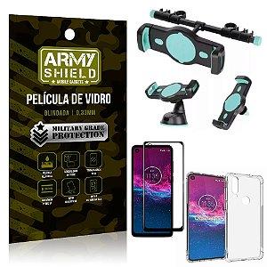 Kit Suporte Veicular 3 em 1 Moto One Action + Película 3D + Capa Anti Impacto - Armyshield