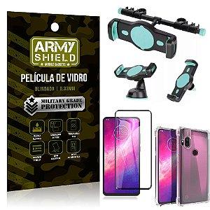 Kit Suporte Veicular 3 em 1 Moto One Hyper + Película 3D + Capa Anti Impacto - Armyshield