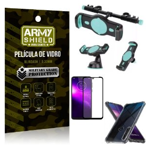 Kit Suporte Veicular 3 em 1 Moto One Macro + Película 3D + Capa Anti Impacto - Armyshield
