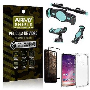 Kit Suporte Veicular 3 em 1 Moto One Vision + Película 3D + Capa Anti Impacto - Armyshield