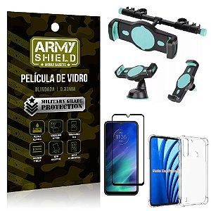 Kit Suporte Veicular 3 em 1 Moto One Fusion + Película 3D + Capa Anti Impacto - Armyshield