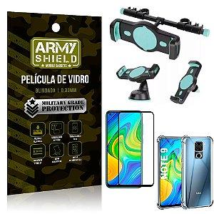 Kit Suporte Veicular 3 em 1 Redmi Note 9 + Película 3D + Capa Anti Impacto - Armyshield