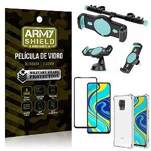 Kit Suporte Veicular 3 em 1 Redmi Note 9 Pro + Película 3D + Capa Anti Impacto - Armyshield