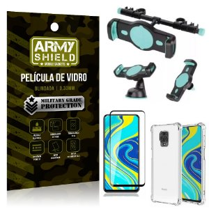 Kit Suporte Veicular 3 em 1 Redmi Note 9S + Película 3D + Capa Anti Impacto - Armyshield