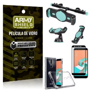 Kit Suporte Veicular 3 em 1 Zenfone 5 Selfie ZC600KL + Película 3D + Capa Anti Impacto - Armyshield
