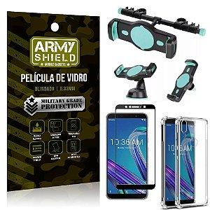 Kit Suporte Veicular 3 em 1 Zenfone Max Pro M1 ZB602KL + Película 3D + Capa Anti Impacto -Armyshield