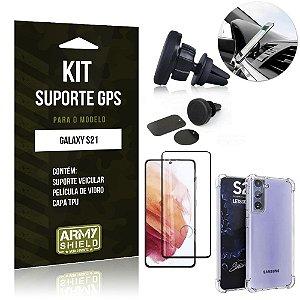 Kit Suporte Veicular Magnético Galaxy S21 + Capa Anti Impacto +Película Vidro 3D - Armyshield