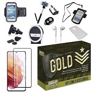 Kit Gold Galaxy S21 com 6 Acessórios + Capinha + Pelicula 3D - Armyshield