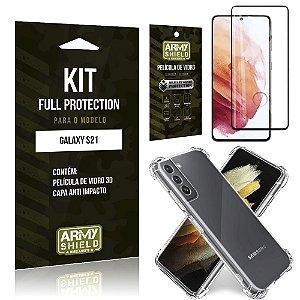 Kit Full Protection Galaxy S21 Película de Vidro 3D + Capa Anti Impacto - Armyshield
