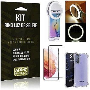 Kit Flash Ring Galaxy S21 Flash Ring + Capa Anti Impacto + Película de Vidro 3D - Armyshield