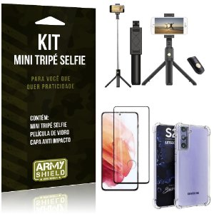"Kit Mini Tripé Selfie Bluetooth para Galaxy S21 6,2"" + Capa Anti Impacto + Película 3D"