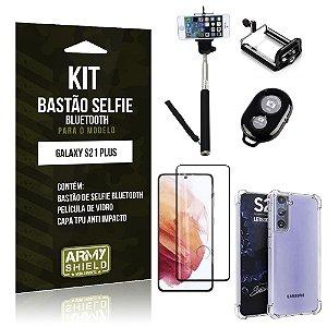 Kit Bastão de Selfie Bluetooth Galaxy S21 Plus +Capinha Anti Impacto +Película Vidro 3D - Armyshield