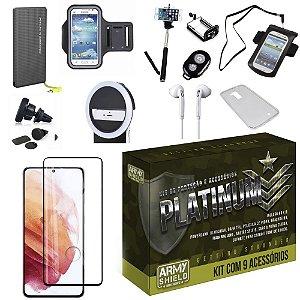 Kit Platinum Galaxy S21 Plus com 8 Acessórios + Carregador Portatil 10k Tipo C - Armyshield