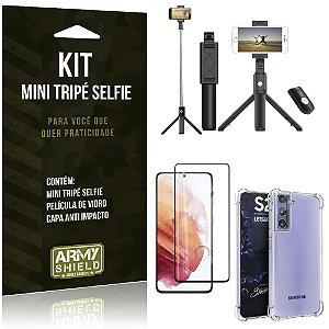 "Kit Mini Tripé Selfie Bluetooth para Galaxy S21 Plus 6,7"" + Capa Anti Impacto + Película 3D"