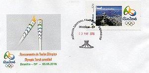 2016 FDC Personalizado Jogos Olímpicos - Revesamento da Tocha Olímpica - Rio 2016