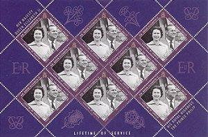 2011 Santa Helena (Ilh Britânica) Folha de selo 25p Príncipe Felipe e Rainha Elizabeth II